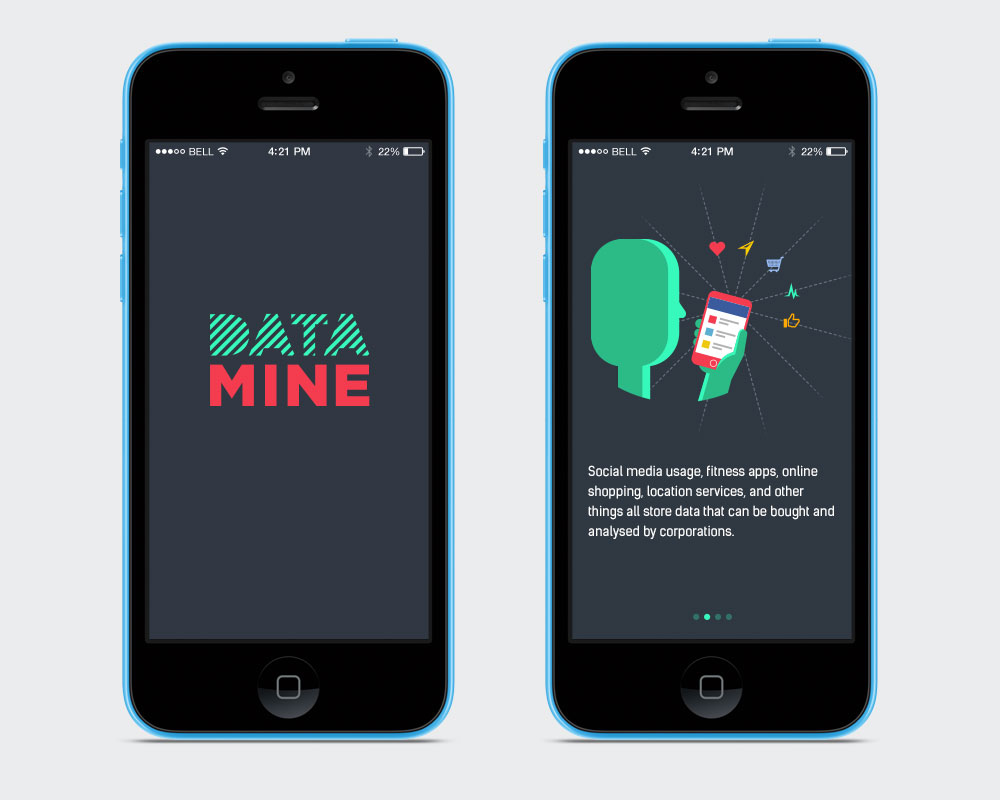 Screen designs for the iOS game Data Mine