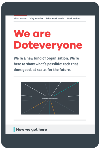 Site design introducing the new Doteveryone brand design