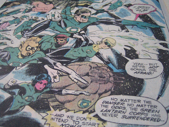 An inside frame from the Green Lantern comic