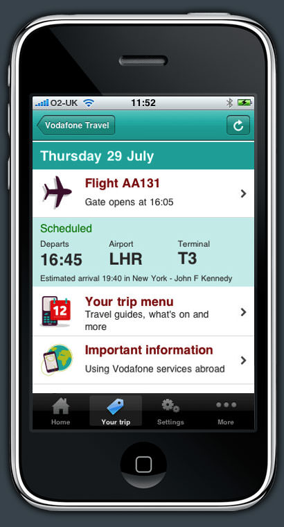 Vodafone Travel on iPhone